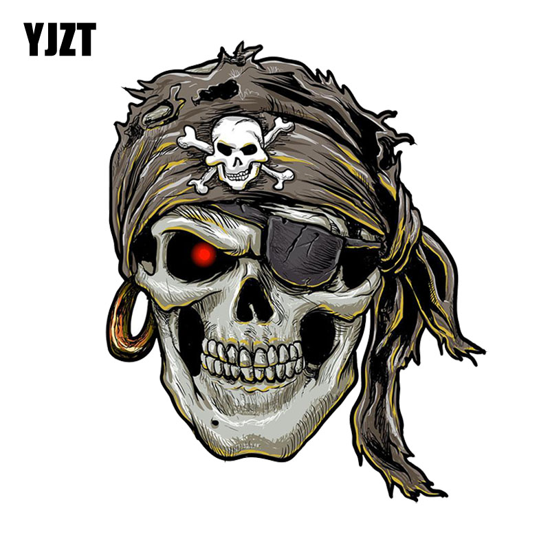 YJZT 12.1CM*14.6CM Stylish Pirate Skull PVC Motorcycle Car Sticker 11-00698