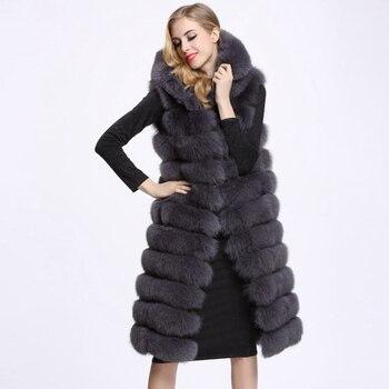 NEW Woman Long Faux Fur Vest coat High Quality 11 Lines Hooded Female Fur Outwear