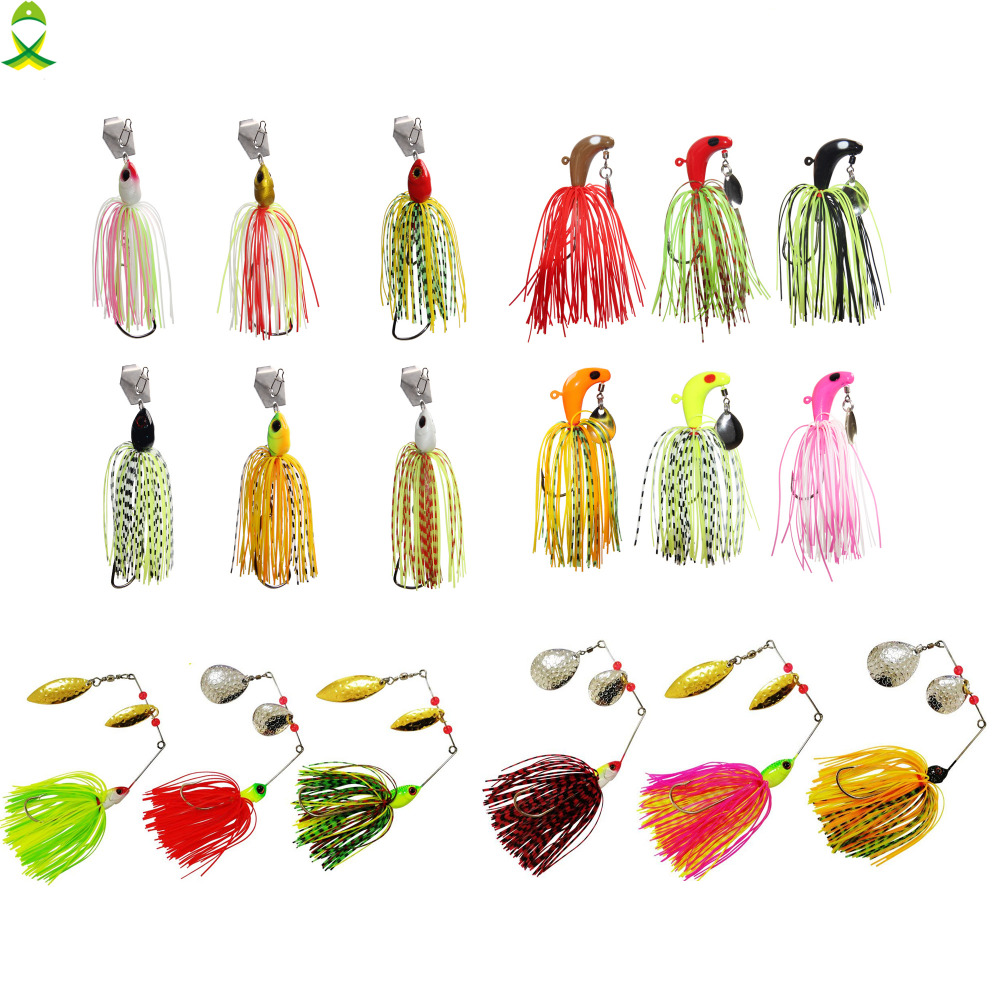 JSM buzzbait chatterbait spinnerbait Lures fishing artificial bait with skirts silicone jig lead head for pike bass fishing-0