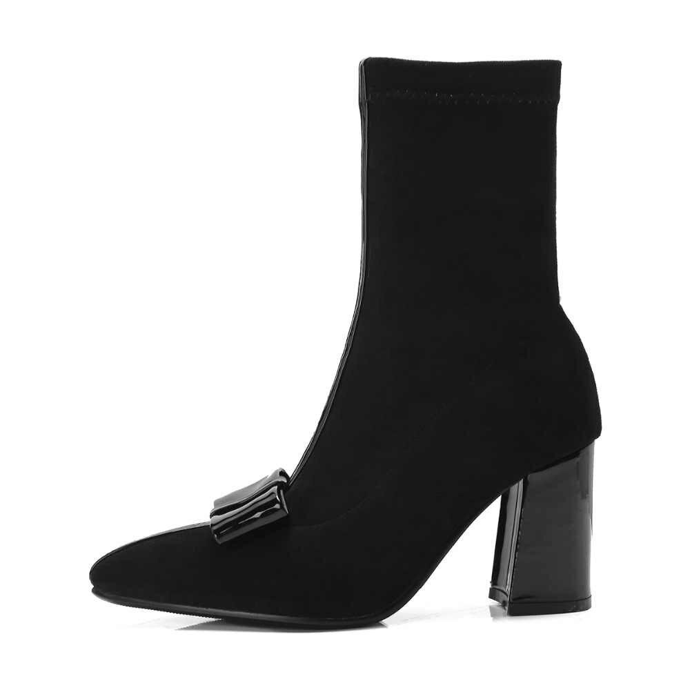 Kadın botları tatlı yay düğüm kalın yüksek topuk yarım çizmeler kadın moda sivri burun üzerinde kayma sonbahar kış çizmeler siyah pembe sarı