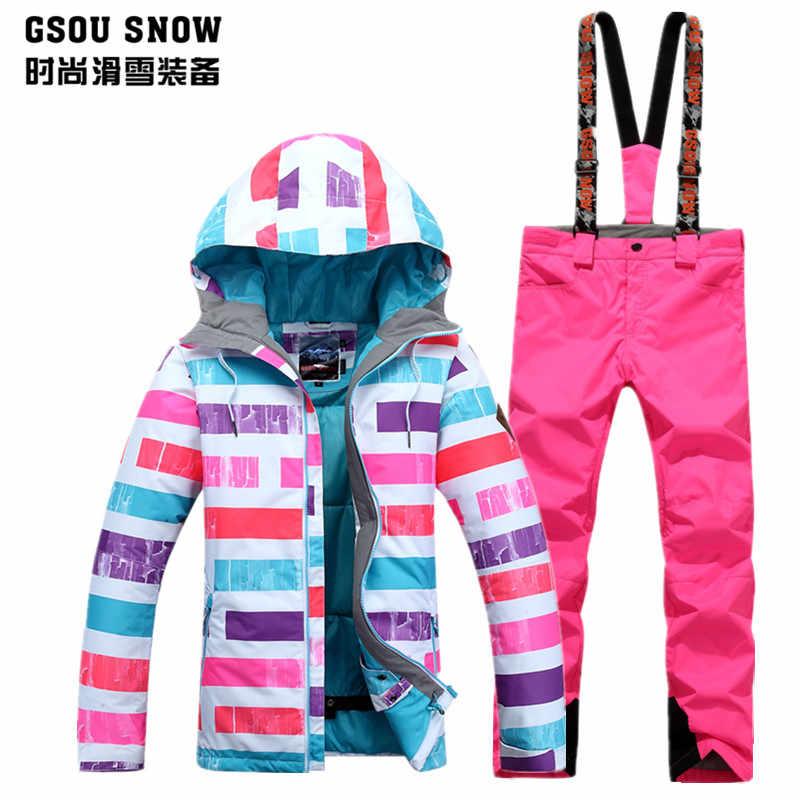 المرأة بدلة تزلج الإناث التزلج التزلج مجموعة الشتاء سكيوير الوردي الأزرق البنفسجي المشارب تزلج سترة و الوردي بناطيل تزلج skiwear