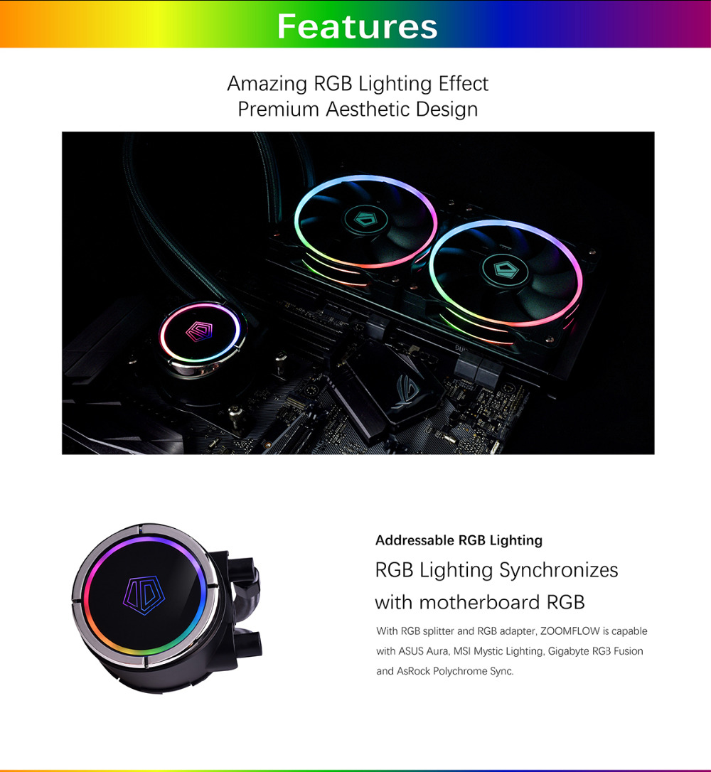 ID COOLING ZOOMFLOW 240 Addressable RGB AIO Liquid Cooler