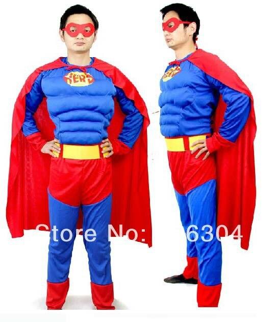 Enthousiast Gratis Verzending, Halloween Cosplay Party Kostuum, Volwassen Super Man Kleren Prestaties Kostuum, Cape, Masker Om Hinder Uit De Weg Te Ruimen En De Dorst Te Lessen