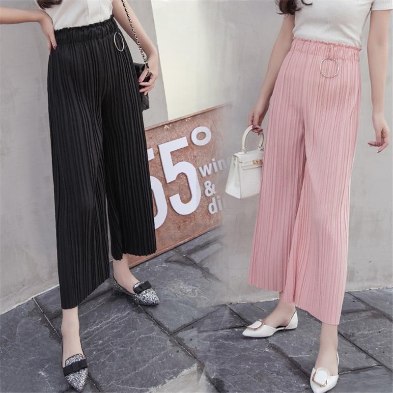 Summer Newest Style Female Fashion Casual Chiffon   Wide     Leg     Pants   Women Trousers High Elastic OL Lady Long Culottes Pleated   Pants