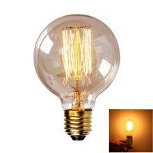Gran oferta, gran oferta, gran calidad, Bombilla incandescente G80 E27, 40W, 220V, Bombilla Retro Edison Vintage