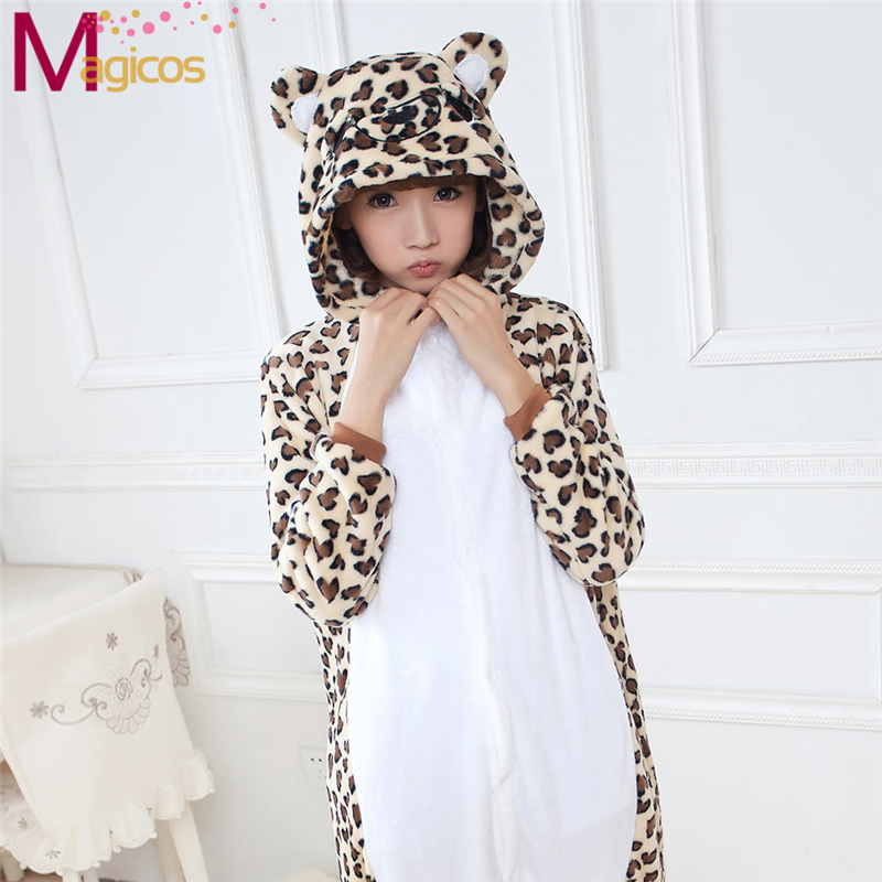 Adults Flannel Onesies Suits Cartoon Animal Leopard Bear Pajamas Cosplay Halloween Party Costume Sleepwear Homewear Pyjamas
