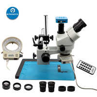 3.5-90X Continuous Zoom Simul Focal Trinocular Stereo Microscope 21MP Camera adapter Phone Motherboard soldering repair tool