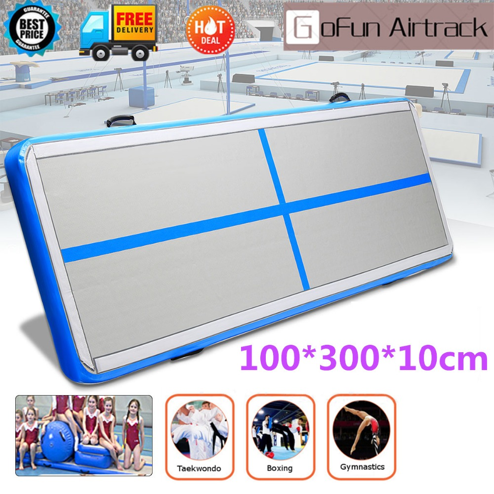 Gofun AirTrack 100x300x10cm Sport Exercise Air Track Training Set Pad Inflatable Gymnastics Training Mats gofun airtrack 10ft x 3 ft air tumbling track mat gymnastics exercise pad inflatable gym training mats balance beam 110v air