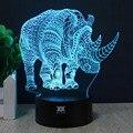 Presentes criativos rhinoceros 3d luz da noite usb led desk mesa lampara como home decor quarto reading nightlight free controle remoto