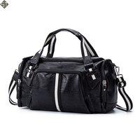 Leather men travel bag Carry on Luggage bag men Leather Duffel bag Overnight Weekend Tote Handbag Black Business Luggage bags
