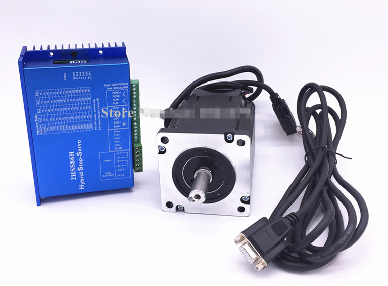 цена на 86J18156EC-1000+2HSS86H Closed loop stepping servo motor system 12N.m Nema 34 Hybird closed loop 2-phase stepper motor