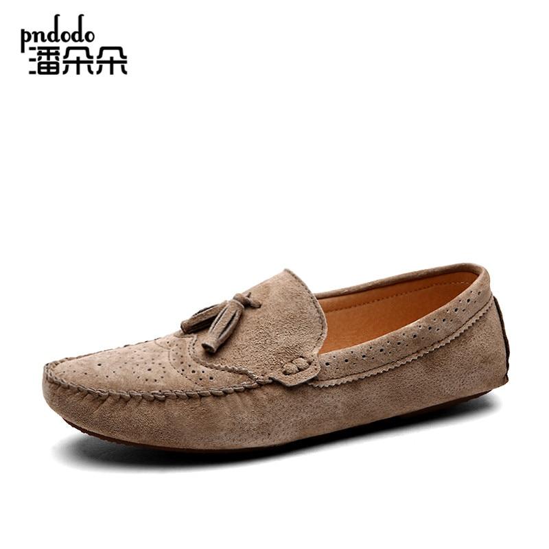 Pndodo Fashion Pria Sepatu Bernapas Kulit Asli Sepatu Nyaman pria Moccasins  Mengemudi Sepatu Zapatos Hombre Ukuran 2fae7f9936