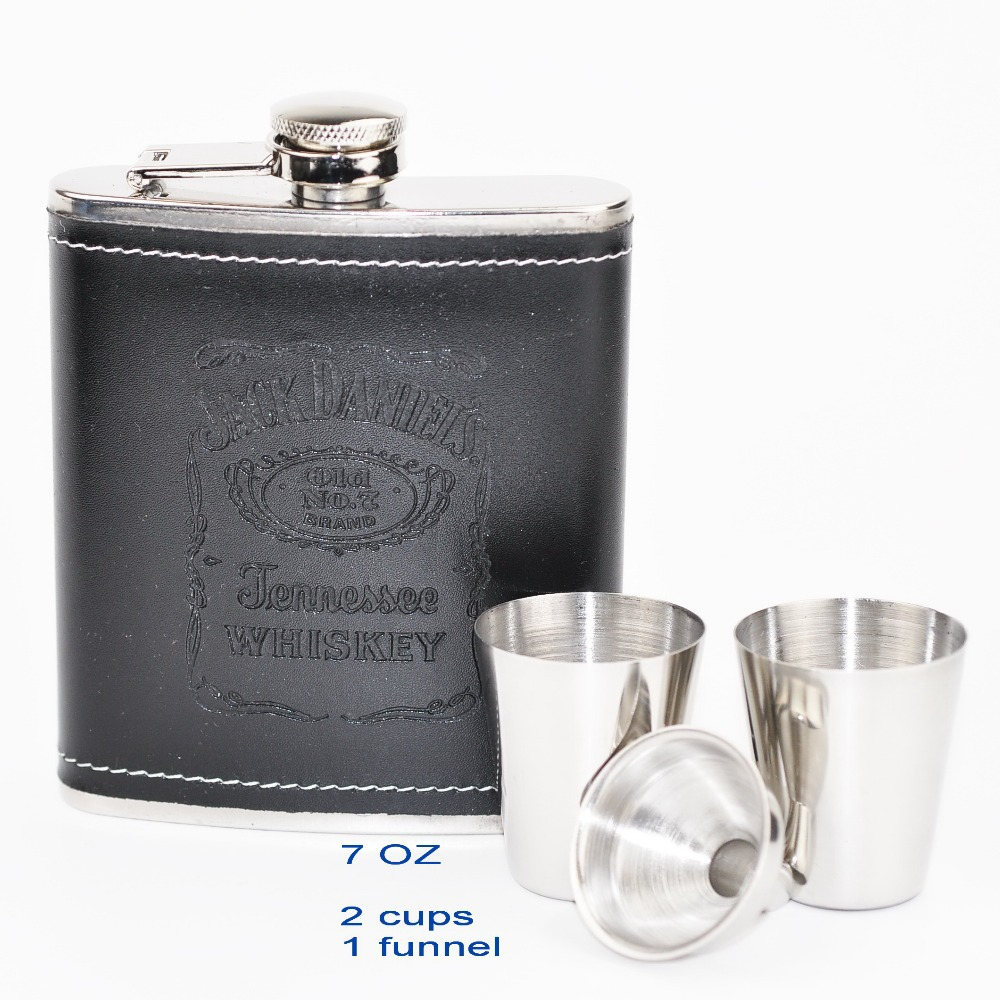 1 Set Portable Stainless Steel 7 oz Hip Flask w Black PU leather Drinkware Whiskey Bottle