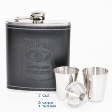 1 Satz Portable Edelstahl 7 unze Flachmann w/Schwarz pu-leder Drink Whiskyflasche schrotflinte glaskolben