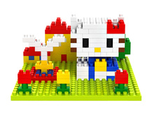 LOZ 9405 Hello Kitty Series Music fountain Diamond Bricks Minifigures Building font b Block b font