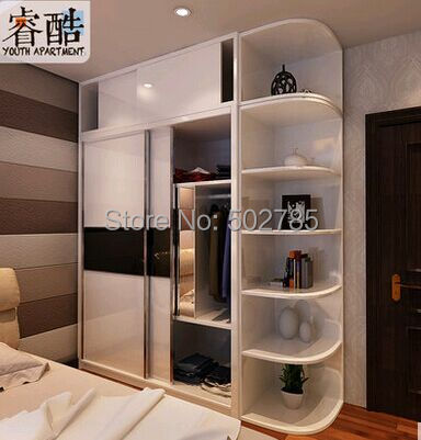 European Rural Solid Wood Four Door Wardrobe White French Wooden Big Closet  Bedroom Furniture As A