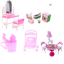 Furniture Set Dolls Baby Kids Room Play Toy Furniture For Doll Gift Simulation Miniature Wooden Furniture Toy Pretend DollHouse(China)