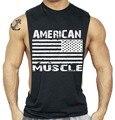 Diseño de la bandera americana de culturismo aptitud de los hombres tank top clothing gorila gimnasios desgaste chaleco gasp golds stringer ropa deportiva camiseta