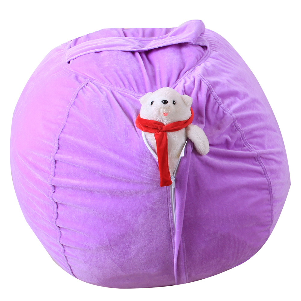 Kids Stuffed Animal Super Soft Short Plush Toy Large Capacity Storage Bean Bag Soft Pouch Stripe Fabric Chair Droship 23May 28 5