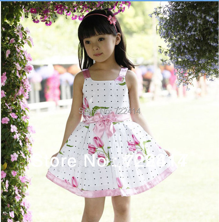 Clearance!! Baby girls Summer tulip Flower print Dress Girls Vest Floral dress childrens Clothing