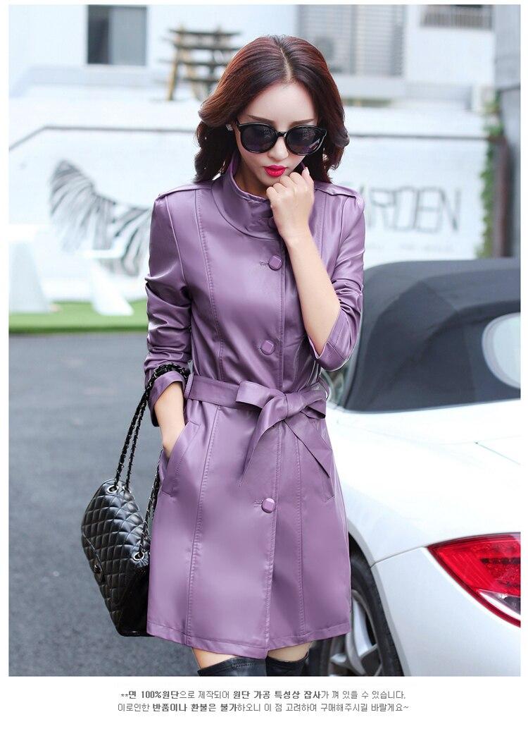 KJ259 Women Dermis Leather Garment Coat Sheepskin Jacket With Belted Clothing Gi