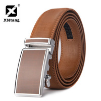 XHTANG Colorful Mens Belt Automatic Buckle Real Leather Ratchet Waistband Belts For Jeans Fashion Casual Leather