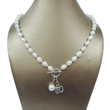 100% NATURE FRESHWATER PEARL NECKLACE ,long baroque pearl 7-9  ,owl,horse pendant,I love you heart