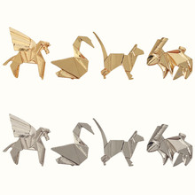 2018 fashion accessories solid geometry of animal rabbit kitten papercranes brooch