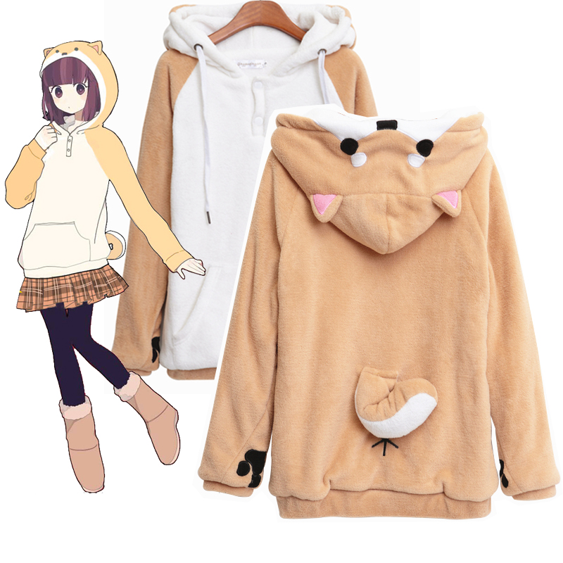Doge muco invierno de muco! Anime capucha Sudaderas Harajuku japonés kawaii  Sudaderas sudaderas con las orejas lindo c63e9e01708