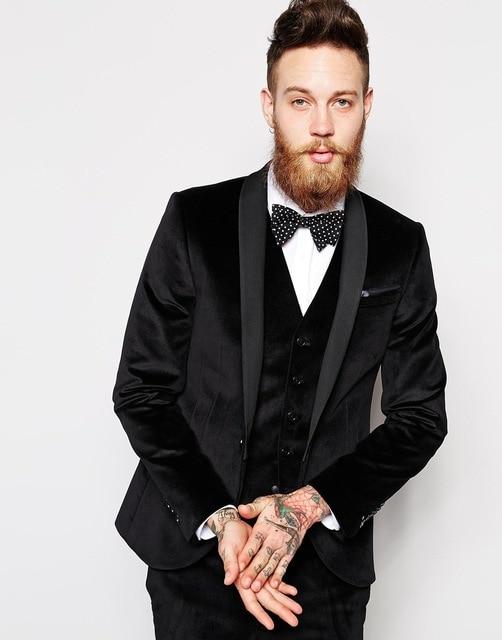 مخصص رفقاء العريس شال طية صدر السترة العريس البدلات الرسمية الأسود المخملية الرجال الدعاوى الزفاف أفضل رجل السترة (سترة + السراويل + التعادل + سترة)-في بدلة من ملابس الرجال على  مجموعة 3