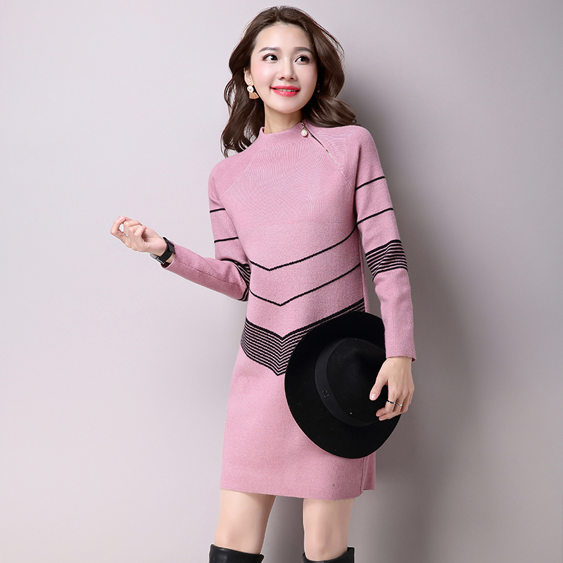 2018-Korean-Fashion-Women-Warm-Knitted-Sweater-Dresses-Autumn-Winter-Female -Half-Turtleneck-Long-Sleeve-Sexy.jpg 587571e9573f