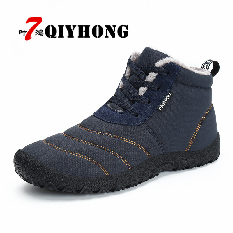 Winter New High-End Canvas Couple Models Plus Velvet Snow Boots Large Size Male Outdoor  ...