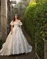 Vintage Royal Family Wedding Dress Gorgeous Puff Sleeve Ball Gown Dress Vestido De Noiva Lace Appliques Luxury Long Train Custom
