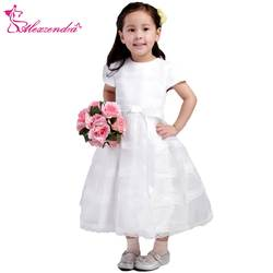 Александра Белый Кот кружевные платья с цветочным рисунком для девочек с поясом Рубашка с короткими рукавами для девочек Платье для