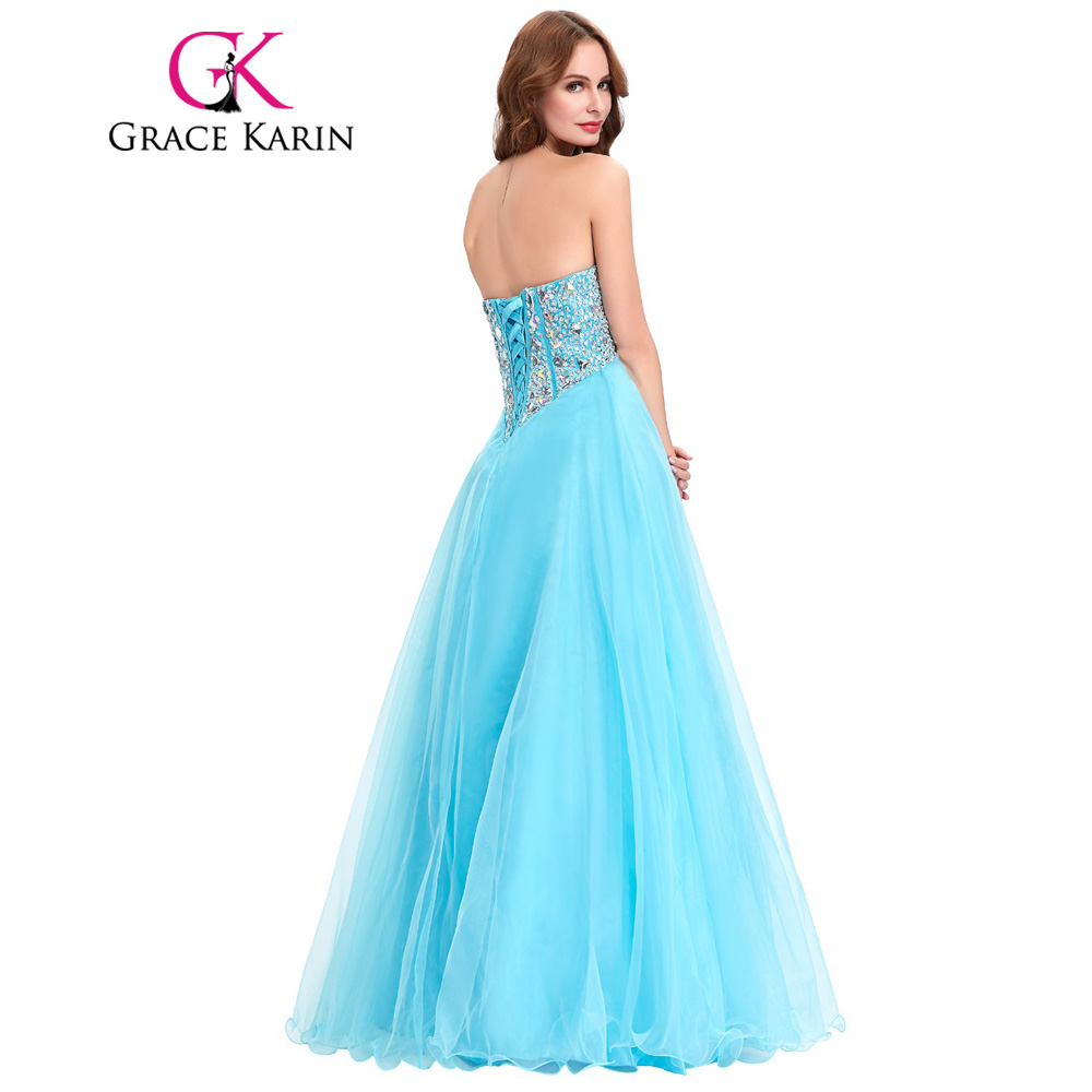 Prom Dresses 2018 Grace Karin Sweetheart Beading Pink Purple Blue ...