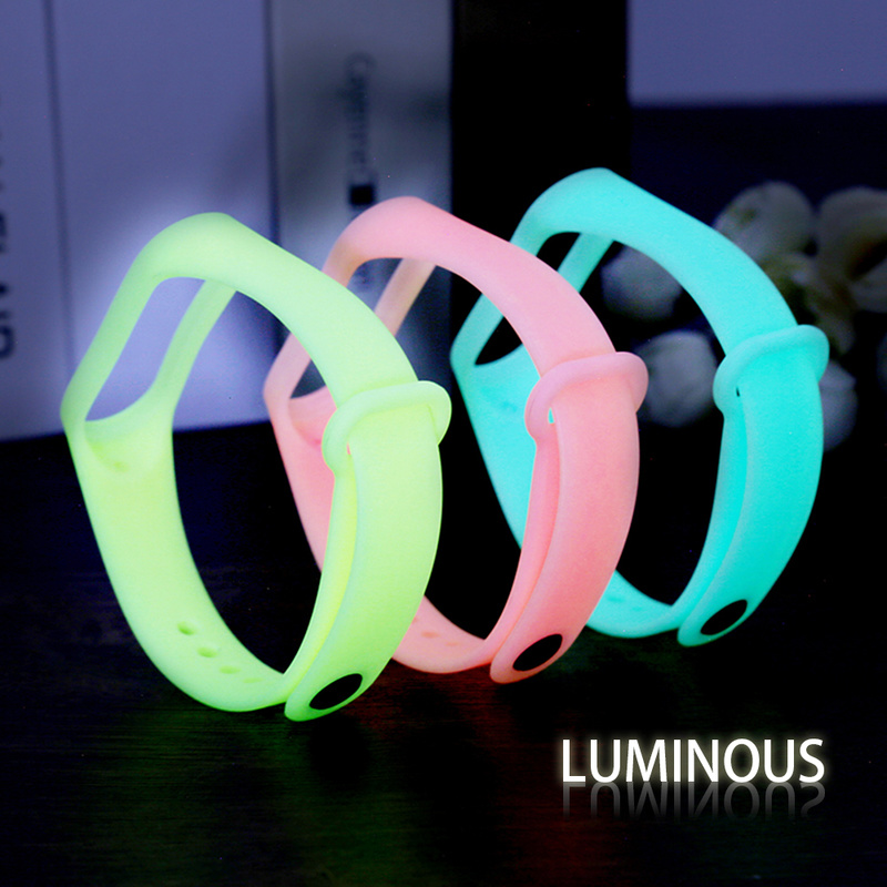 6 Colors Luminous Replacement Silicone Wrist Strap For Xiaomi Mi Band 4 3 Watch Band For Miband 3 4 Wristband Smart Accessories