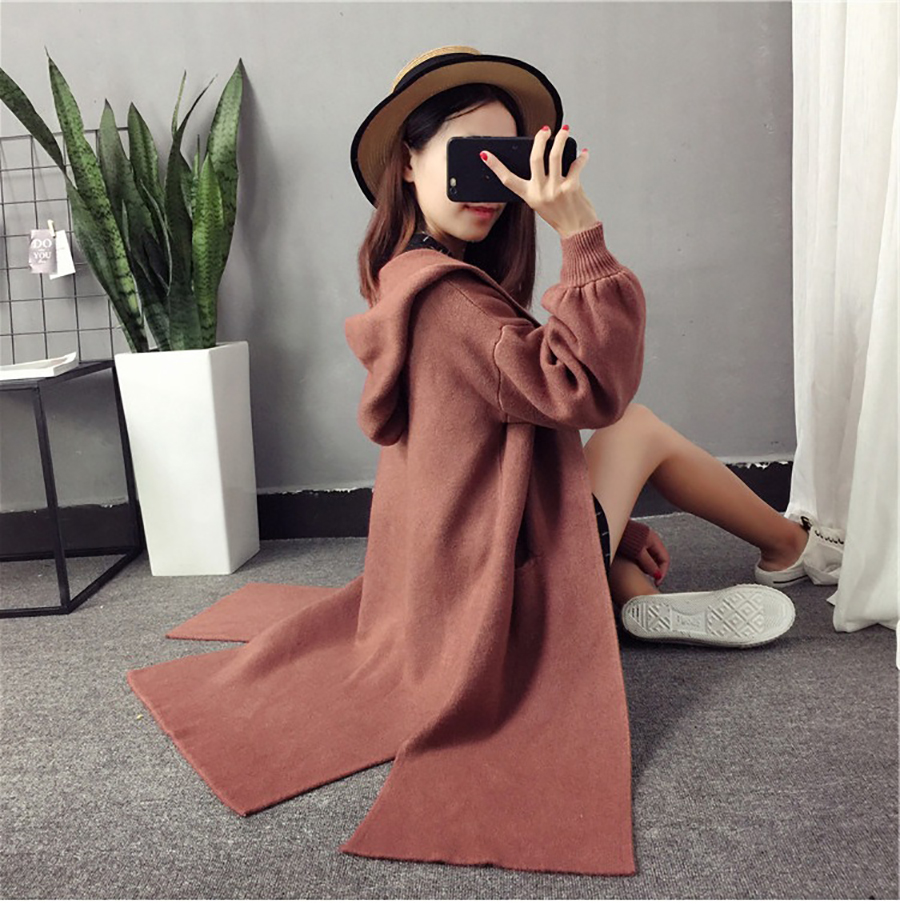 Autumn Winter Women Long Cardigans Hooded Sweaters Casual Knitted Outwear Puff Sleeves for Fashion Girls Female Warm Clothing (16)