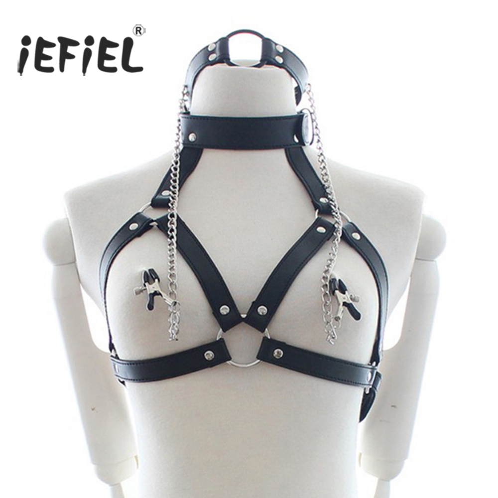 iEFiEL Hot PU Leather Collar Bra With Ring Open Mouth Gag Nipple Clamps Bondage Exotic Lingerie Body Sexy Nightclub Chest