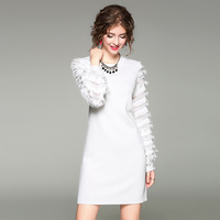 2017 Autumn New Fashion Wool Knitting Dress Feather Tassel Long Sleeved Dress Ladies Doubles Color 8362