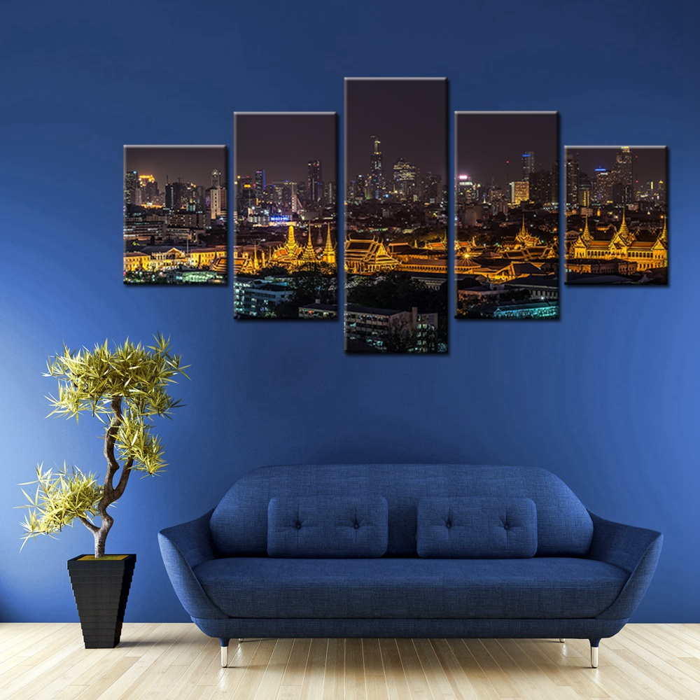 Thailand Bangkok Night View Scene Picture Landscape Wall Painting Canvas Home Decor Artwork Art For Living Room Decoration In Calligraphy