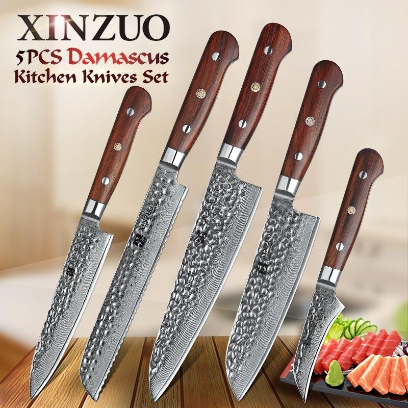 XINZUO 67 5 PCS Conjuntos de Facas de Cozinha Japonesa Damasco Rosewood Handle Utilidade Facas Santoku Faca Do Chef De Cozinha Em Aço Inoxidável