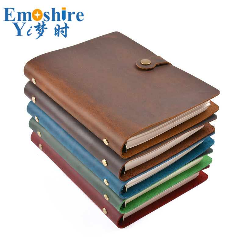 A5 Loose-leaf Notebook Simple Business Notebook Stationery Retro Crazy Horse Leather Account Note Book Four-button Buckle N150A5 Loose-leaf Notebook Simple Business Notebook Stationery Retro Crazy Horse Leather Account Note Book Four-button Buckle N150