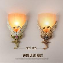 Голова художественных промыслов Творческий стекла бра, теплые гостиной, спальни коридор, Лебединое Настенный светильник, craft бра, Европейский res
