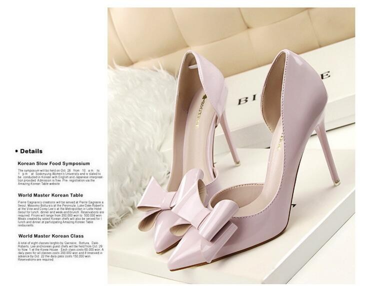 {D&H}Brand Women Shoes High Heels Women's Pumps Bow Two Piece Thin Heel Wedding Shoes Valentine Shoes White zapatos mujer 14