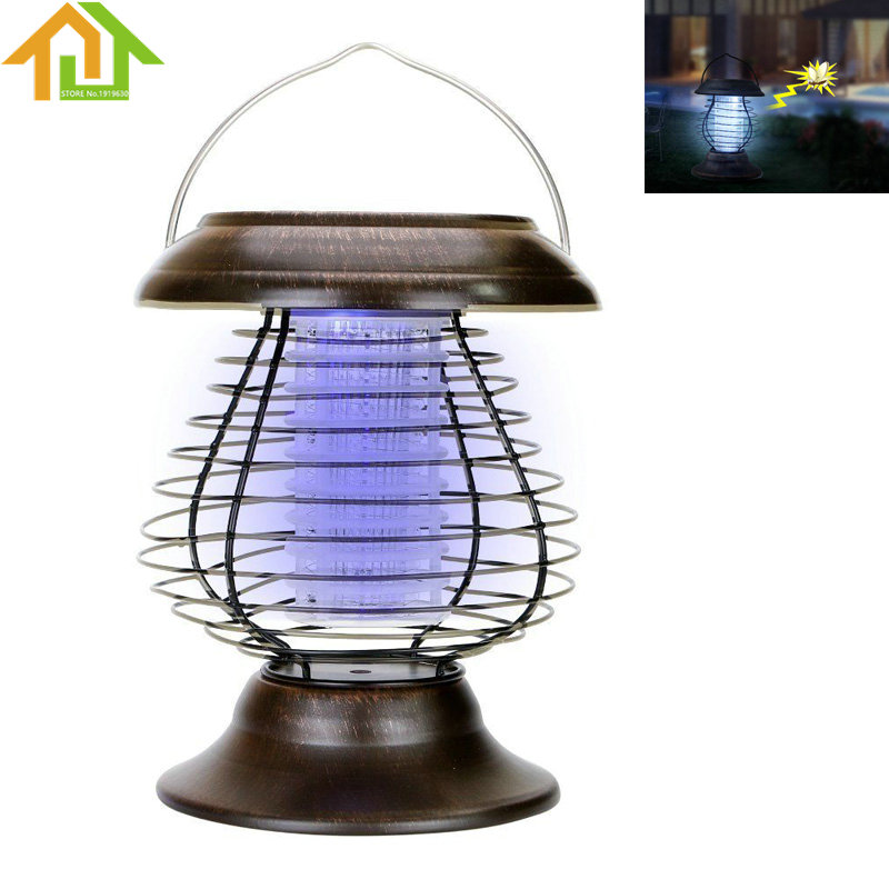 Solar Powered Outdoor Mosquito Fly Bug Insect Zapper Killer With Trap Lamp Light portable mosquito insect killer repeller expeller hook type solar ultrasonic w compass outdoor