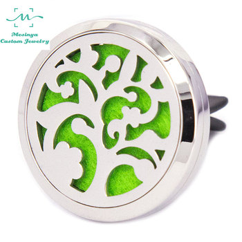 Mesinya New Tree (30mm)Air Freshener Magnet Diffuser 316L S.Steel Aromatherapy vent clip Essential Oil Car Diffuser Lockets