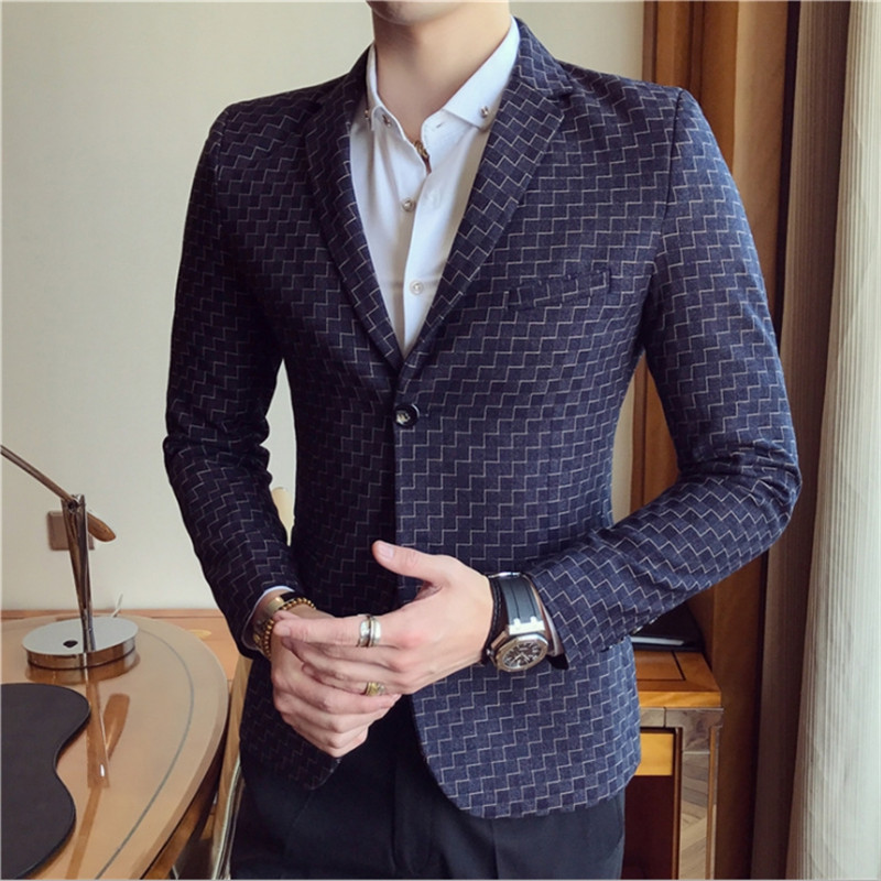 Male Spring Autumn Blazer Europe Solid Single Row One Button Male Jacket Blezer Freeshipping  Broadcloth Cotton Button Fly