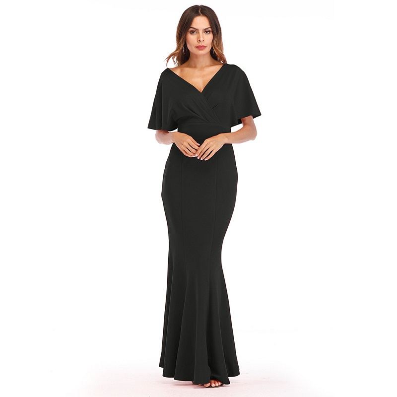 ceaf10a712 Aliexpress.com   Buy 2018 New Red Blue Black Summer Maxi Dress Women Deep V  neck Batwing Sleeve Backless Slim Sundress Sexy Club Party Dresses from  Reliable ...