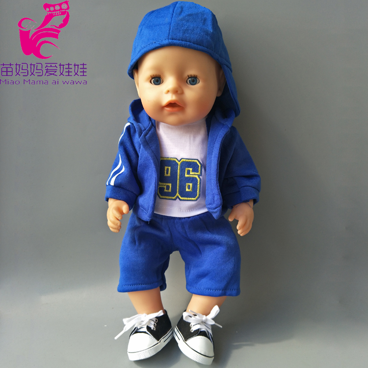 все цены на 4 in 1 set Sport Clothes + shirt + Pants + baseball cap set for 43cm Baby new Born Doll girl for 18 inch doll clothes set онлайн