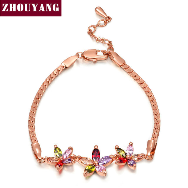 Top Quality Three Multicolour Flower Rose Gold Color Bracelet Austrian Crystals ZYH019 ZYH020 ZYH021 ZYH022 ZYH023